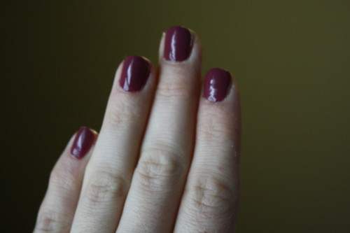 Essie Angora Cardi nail polish on hands