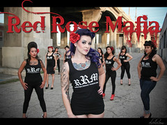 The Red Rose Mafia in Downtown L.A. (elvolo) Tags: california bridge pink girls red urban sexy up rose tattoo female concrete gangster los pom high women downtown pin angeles gang style retro volo southern crew mink heel sixth tat gangsta pinup mafia pompador chola pachuca tatt