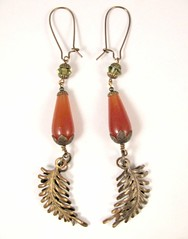 Carnelian Drop Earrings with Vintaj Brass Fern Fastenables and Khaki Swarovski Crystal