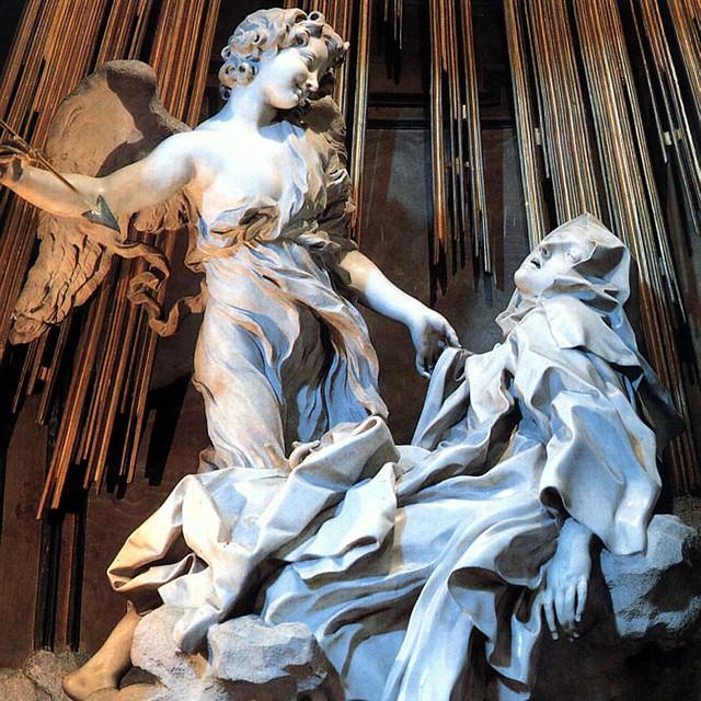 """Giovanni Bernini (Naples, 1598-Rome, 1680) """"Ecstasy of St. Theresa"""" (1647–1652) - Marble, Cappella Cornaro, Santa Maria della Vittoria, Rome"""