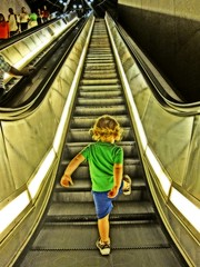 First Solo Ascent (Jocko B.) Tags: city boy portrait people urban stairs subway dc washington kid child metro escalator stairway poormanshdr
