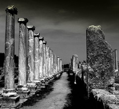 Columns Of Perge, An Ancient Greek City In Anatolia (Turkey) (Butch Osborne) Tags: city bw turkey greek ancient ruins historic anatolia antiquity mustsee perge ancientcity amazingshot amazingphoto 1000comments 100commentgroup tripleniceshot mygearandmepremium mygearandmebronze mygearandmesilver mygearandmeplatinum mygearandmediamond
