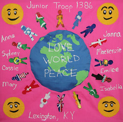 "By Girl Scout Troop 1386 and Troop Leader Christy Robinson   Title-""World Peace"" (International Fiber Collaborative, Inc.) Tags: art kids stars community space dream nasa explore health express reach breastcancer global discover saturnvrocket internationalfibercollaborative thedreamrocket"