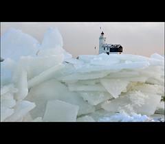 iceland (leuntje) Tags: winter lighthouse ice netherlands explore icefloes marken ijsselmeer i