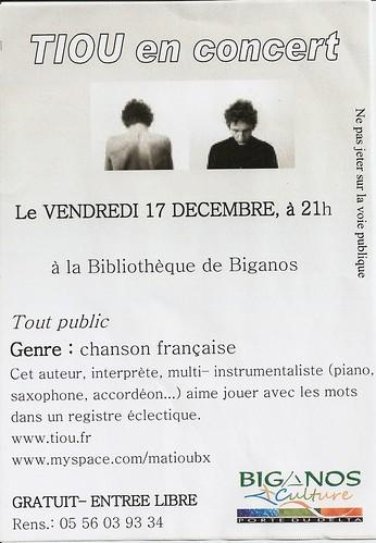 Flyer du concert de Tiou à Biganos