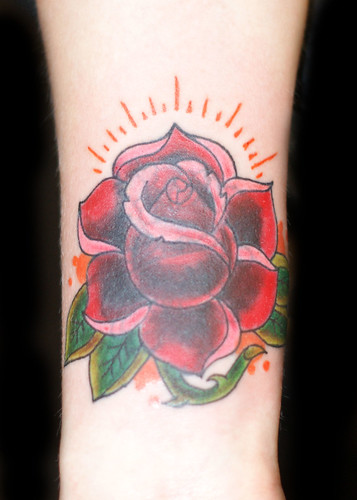 Newest photo →; New School Red Rose Tattoo (Cover Up)