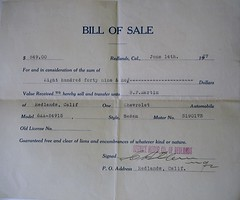 Bill of sale sedan 1927