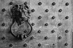Beware Of Dog (Leeds Castle Door Detail), Kent (flatworldsedge) Tags: door wood old england white black castle bronze kent iron grain leeds lion historic studs explored