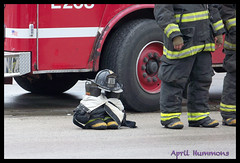 Remnants of a Hero (AHummons Photography) Tags: street chicago truck fire uniform salute casket gear funeral fallen hero fireman lonely tribute procession firefighter department woodlawn 67th aprilhummons coreyankum enginecompany63 edwardstringer aprilhummonsphotography