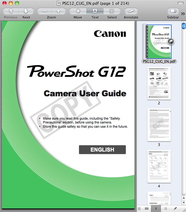 Canon G12 Manual