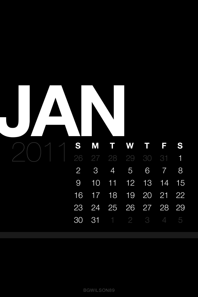A few nice ipod wallpaper images I found: January Lock Screen Calendar