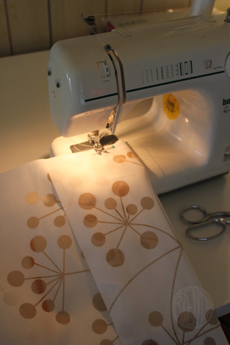 sewing new curtains