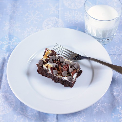 brownie and glass of milk