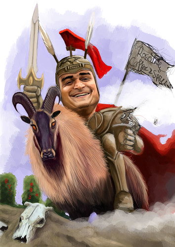 digital caricature of knight - 2