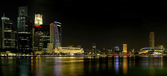 Singapore City Skyline at Night Panorama (David Gn Photography) Tags: city travel bridge panorama tourism skyline architecture night river lights singapore theater downtown raw waterfront skyscrapers officebuildings financialdistrict entertainment esplanade durian nightlife hotels marinabay merlionpark canoneos7d sigma1020mmf35exdchsm