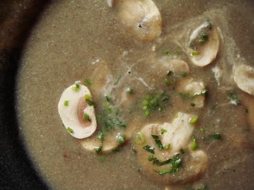 Paris Mushroom Soup: Stirred