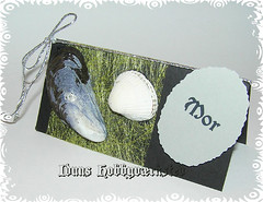 Traditionelt Bordkort 7 (Hobby Gommo) Tags: birthday paper handmade confirmation placecard skjell bordkort muslinger
