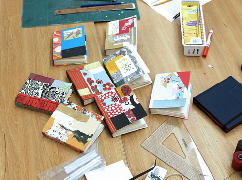 All of the books on the table from a long stitch book class taught by Ruth Bleakley