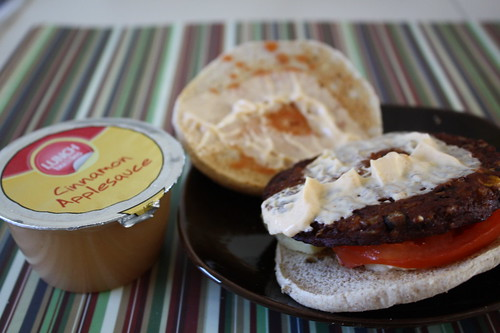 applesauce and Morningstar black bean burger on arnold's thin