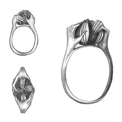 jewellery. mutation. l'anello (santagoreva) Tags: inspiration leather pencils silver design hands drawing ring poppies accessories jewel mutation jewellary kohinoor anello