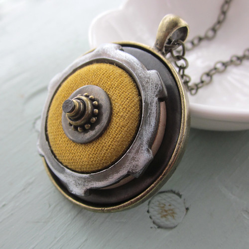 Yellow Linen Button Necklace