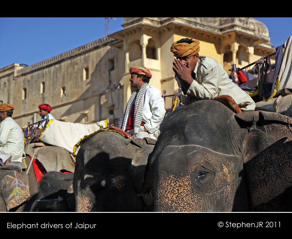 Elephant drivers in Jaipur...