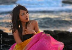 Deeya (DanielKHC) Tags: light sea 2 portrait woman beautiful sunrise interestingness model nikon rocks soft waves dof bokeh explore mauritius saree deeya d300 rochesnoires postelafayette danielkhc nikkor70200mmf28vrii deeyabeejafan