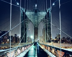 Brooklyn Bridge Walkway, New York CIty (andrew c mace) Tags: nyc newyorkcity longexposure winter snow film brooklyn night manhattan wideangle brooklynbridge epson 4x5 monorail provia largeformat cambo 100f v700 colorefex nikoncapturenx nikkor75mmf45 45sf