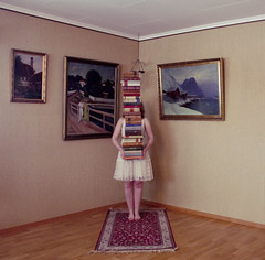 (Ane Lundeby) Tags: painting book surreal bookcase