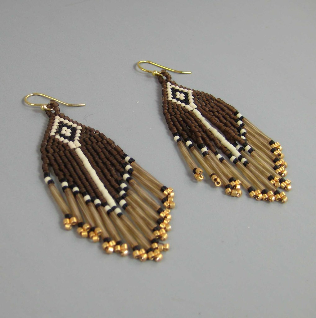 Brown and Gold Beaded Earrings