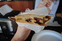 Oh crepe. (HANNAHisCRAZYY) Tags: food dessert amazing hand spectrum sweet banana bananas caramel crepe raspberry nutella jam crepes preserves dulcedeleche crepemaker