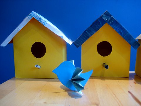 Printable Bird House And Bird Template