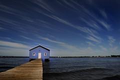 b l u e (andrewchin photography) Tags: sky clouds landscape perth edge boardwalk boathouse westernaustralia swanriver crawley