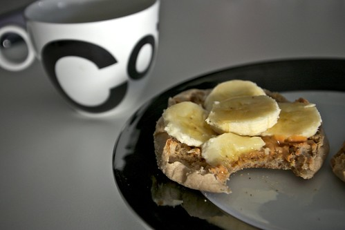 PB+Banana+Agave Syrup+English Muffin= Breakfast