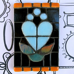 Blue, blue... (Black Cat Bazaar) Tags: blue orange black flower art glass leaves atc tile heart mosaic tradingcard glowinthedark swap sarahcampbell blackcatbazaar