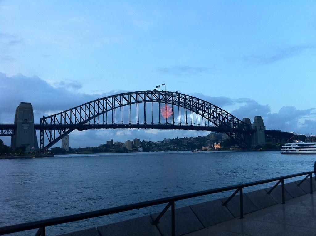 Hand on the Sydney Harbour Bridge.