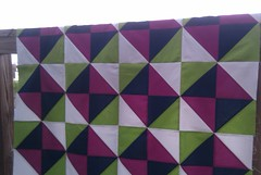 Kona Solid Quilt in Cerise, Navy and Lime
