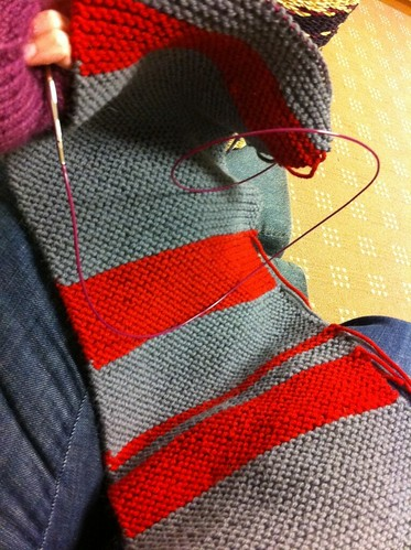 Stuck at work, glad I brought knitting...