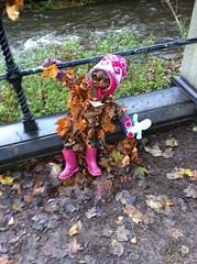 Leaf child with Night Garden figure in Stockbridge, Edinburgh