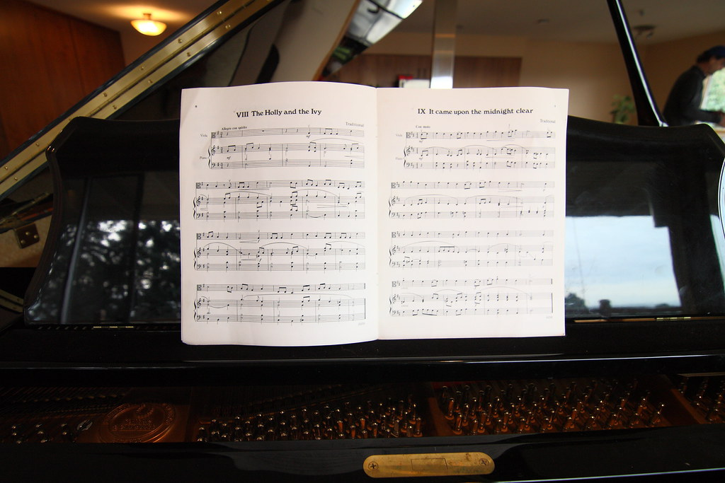 Sheet music on a grand piano