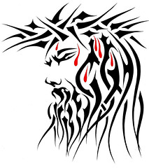REI (Black Crown . tribal) Tags: white black art face design king cheek christ god jerusalem jesus tribal cruz crown cristo tatoo sant coroa ilustration santo