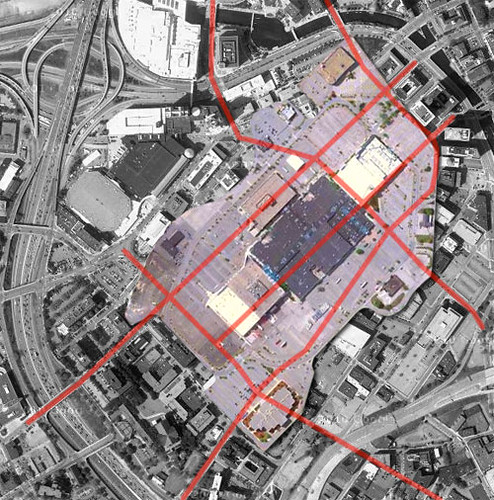 Warwick Mall superimposed over Downcity Providence
