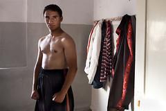 Palestinian boxer (Olivier Timbaud) Tags: sport jordan lockerroom changingroom boxe jordanie palestinian vestiaire zarka