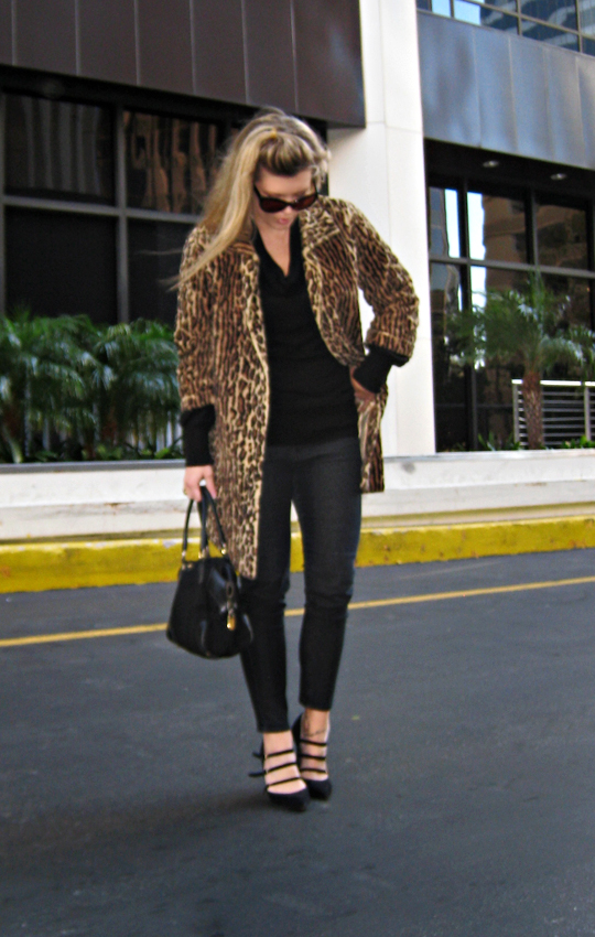 black jeans black sweater leopard coat