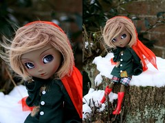 Happy Birthday Indochine! (Queen Carcharias  Libuse) Tags: winter brown snow cold fur eyes doll acrylic alice wig mohair blonde pullip another custo