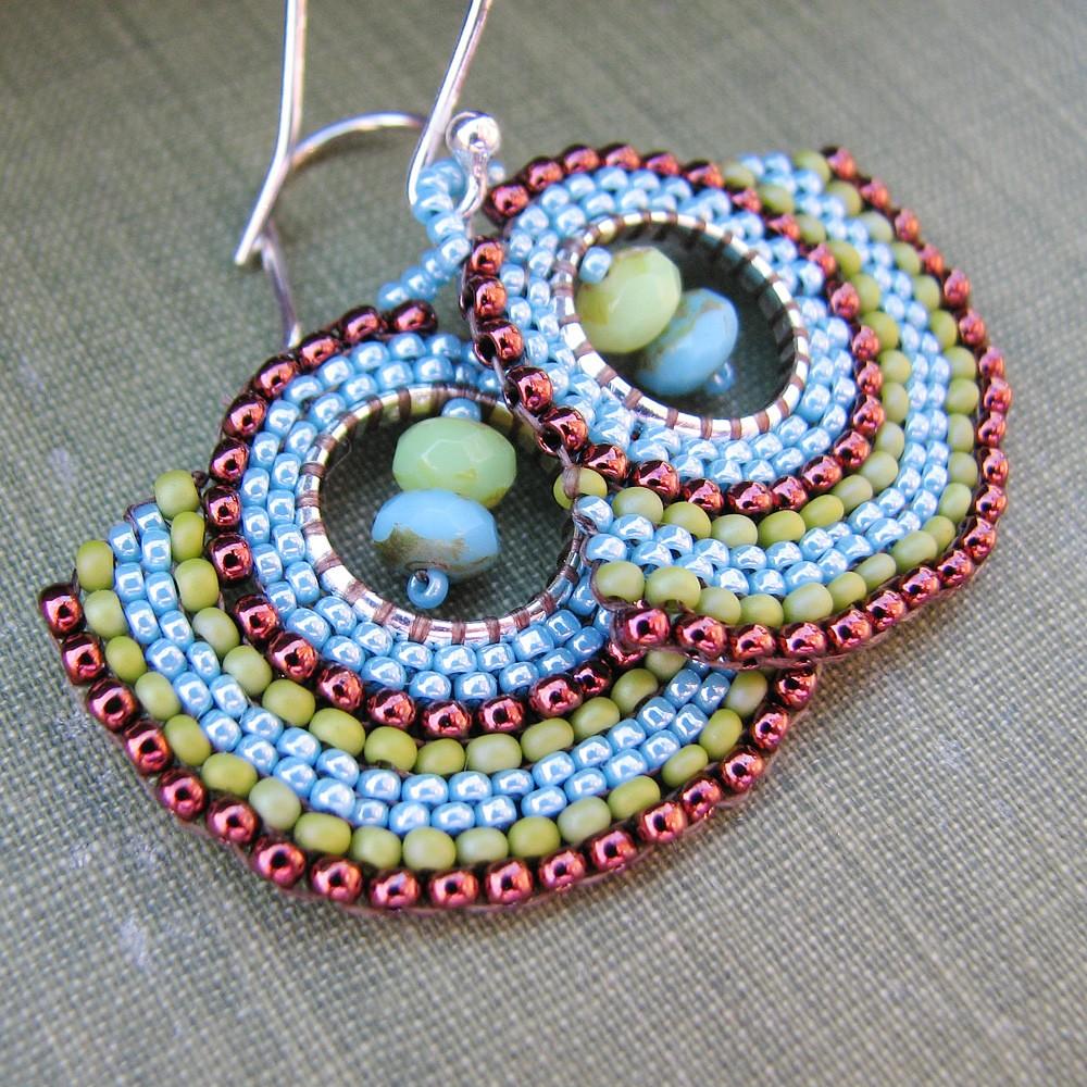 Olive Copper Fan Earrings with Sterling Silver