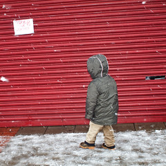 Closed due to weather (Che-burashka) Tags: street winter red snow london sign shop poster eyes gate closed child suburbs snowing snowfall winterclothes londonist canonef28mmf18usm locallondon welcomeuk