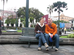 Meg and Dave in Plaza Grande, Quito