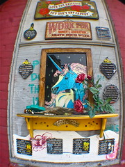 Unicorn Shrine (Wires In The Walls) Tags: streetart shrine providence rhodeisland installation unicorn trivet olneyville dirtpalace