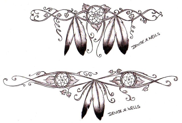 Native American Tattoo designs. Dreamcatchers wrapped in vines and leaves